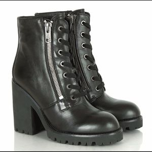 "ASH ""POKER"" LEATHER MOTO COMBAT BOOTS"